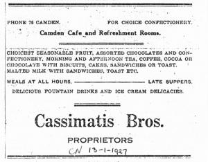 Advertisement Camden News 13 January 1927