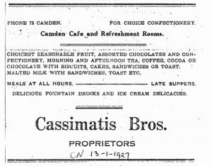 Advertisement Camden News 13 January 1927