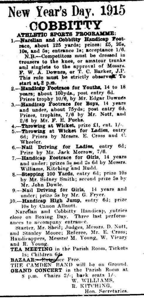 1915 Cobbitty Sports Day Schedule