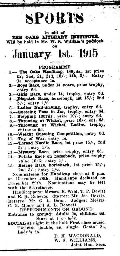 1915 The Oaks Sports Day Schedule