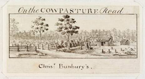 On the Cowpasture Road / Chrisr: Bunbury's. from Views of Sydney and Surrounding District by Edward Mason, ca. 1821-1823; 1892. State Library of NSW PXC 459