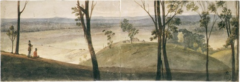 View of the farm of J. Hassel [Hassall] Esqr. Cow Pastures, New South Wales by Augustus Earle, c. 1825. State Library of NSW PXD 265, f. 2
