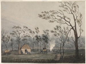 View of the Government Hut at Cowpastures, 1804. State Library of NSW SSV1B / Cowp D / 1