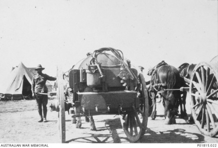 Soldiers using horse drawn water wagon of the type that would have been used at Narellan Military Camp around 1941. This is a WW1 scene from Egypt.
