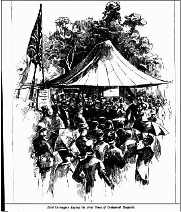 NSW Governor at Carrington Hospital Laying Foundation Stone Illustrated Sydney News 1889