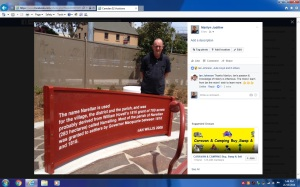 Ian Willis next to text from Narellan story 2016 (http://dictionaryofsydney.org/entry/narellan)