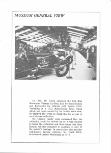 Booklet produced by Ian Willis A Selection of a Collection Greens Motocade showing the interior of the museum hall 1981 (I Willis)