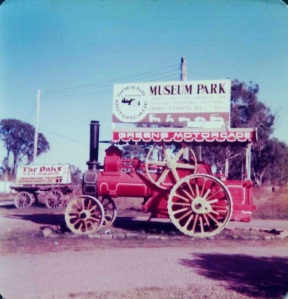 Former Woods Timber Mill at Narooma steam traction engine which met visitors on the Old Hume Highway on the driveway that went up to the museum front gate (R Sanderson)