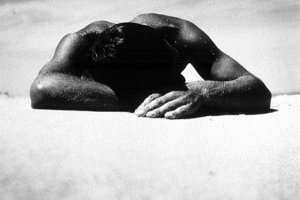 Sunbaker is a 1937 black-and-white photograph by Australian modernist photographer Max Dupain, depicting the head and shoulders of a man lying on a beach, taken from a low angle. (Wikimedia)