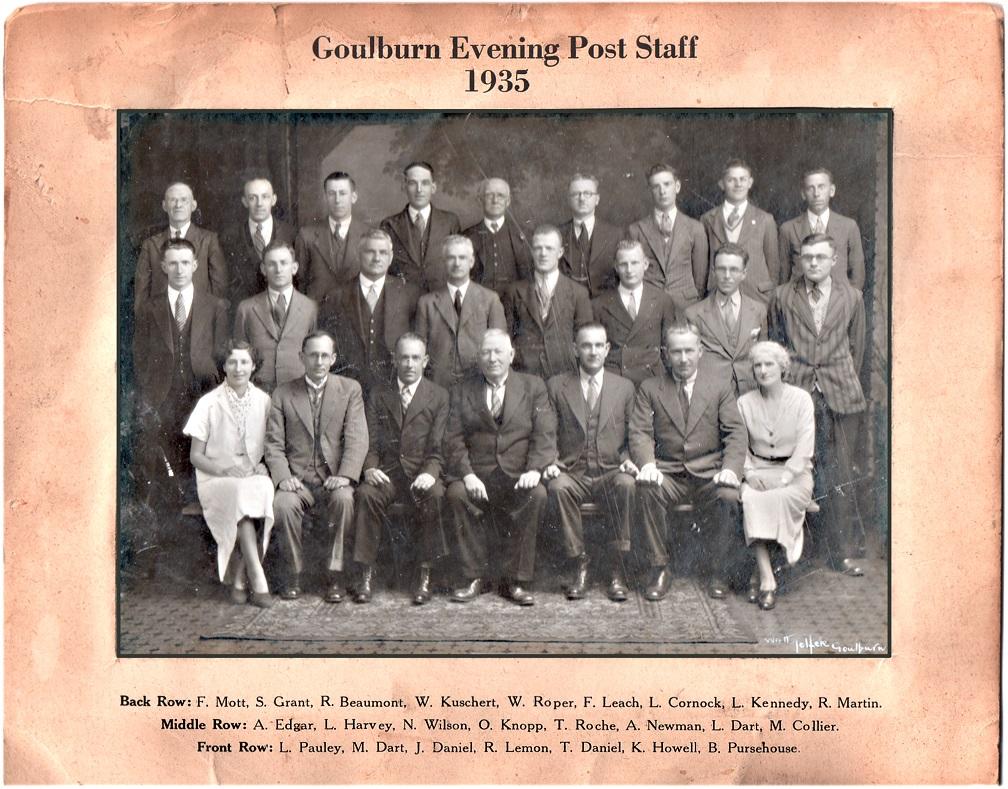 Goulburn Evening Post Staff 1935 GEP[2]