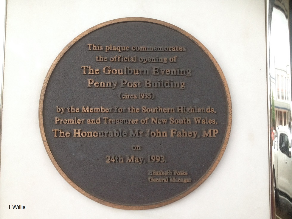 Goulburn Post newspaper Office 1935 plaque lowres