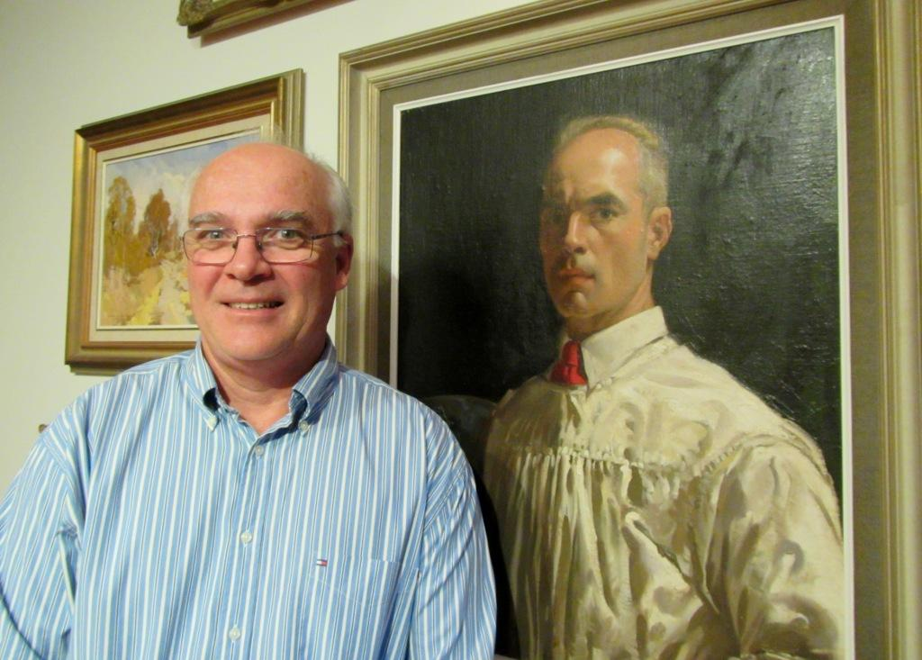 Camden Macaria Gary Baker next to his father's portrait 2018 LStratton