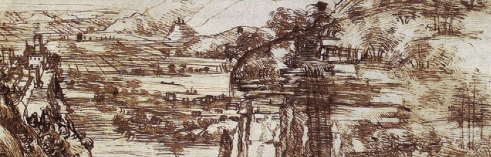 Leonardo da Vinci_s earliest known drawing, the Arno Valley (1473), Uffizi fragment