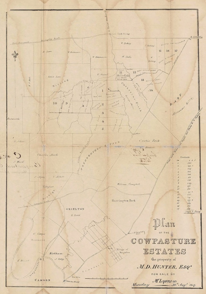 Map Bringelly Cowpasture Estate Map 1847 Land of MD Hunter NLA