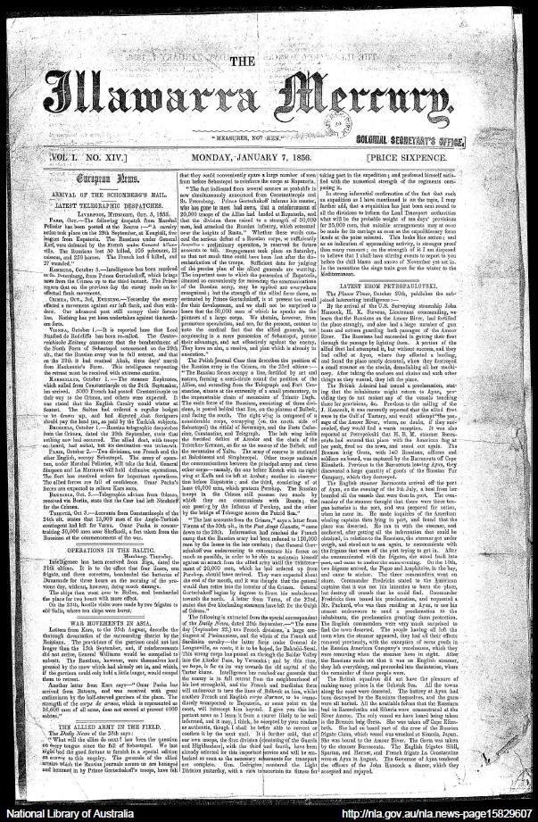 Newspaper Illawarra Mercury 1856Jan7