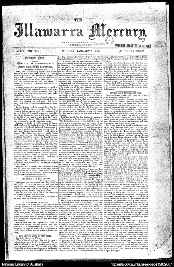 Newspaper Illawarra Mercury 1856Jan7