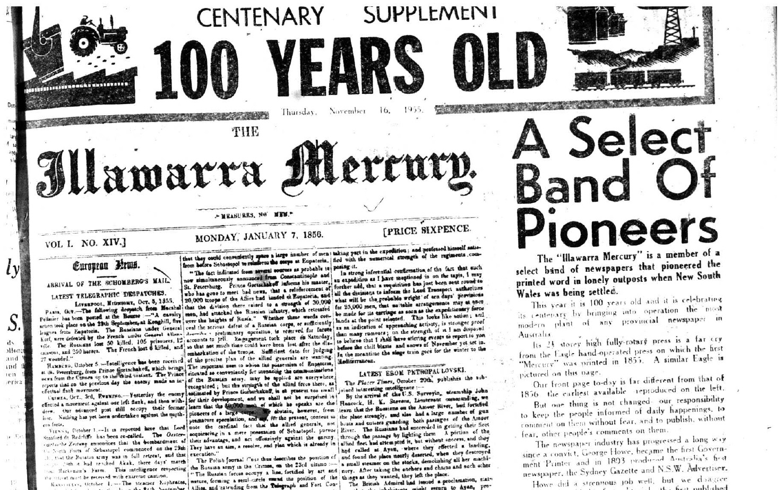 Newspaper Illawarra Mercury 1955Nov16