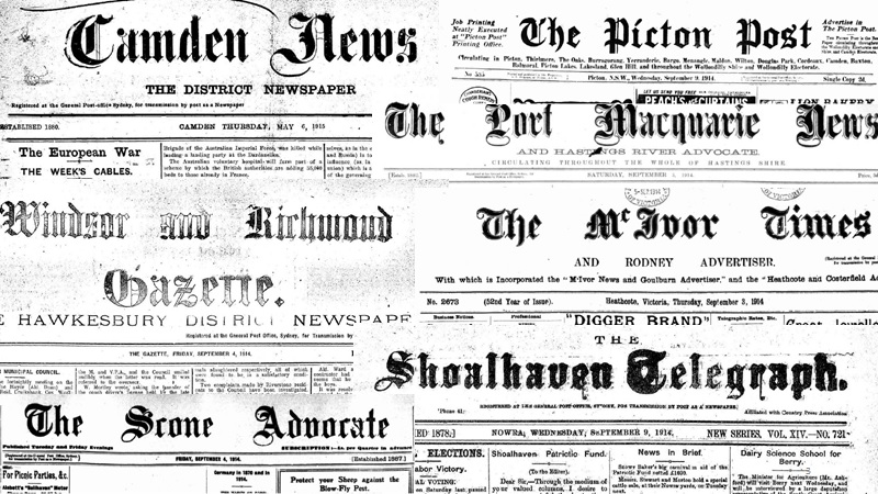 Newspapers WW1 Country Mastheads