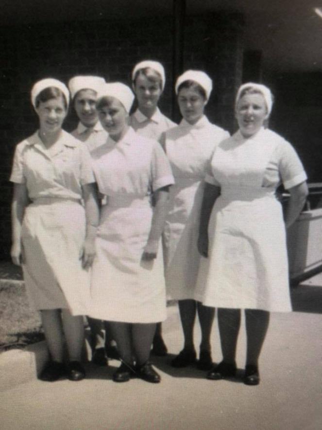 Camden Hospital Nurses FrancesWarner RHS outside Nurses Home 1965 SRoberts