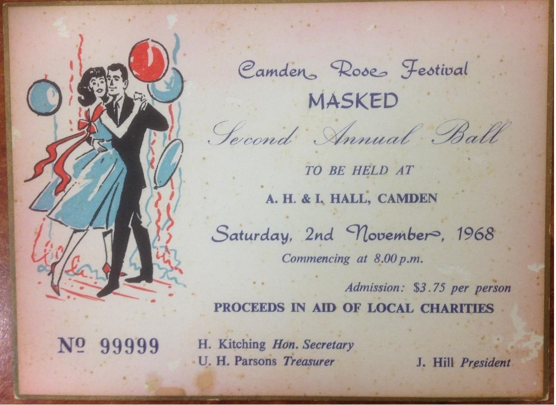 Camden Rose Festival Ball Ticket 1968 CdmMus