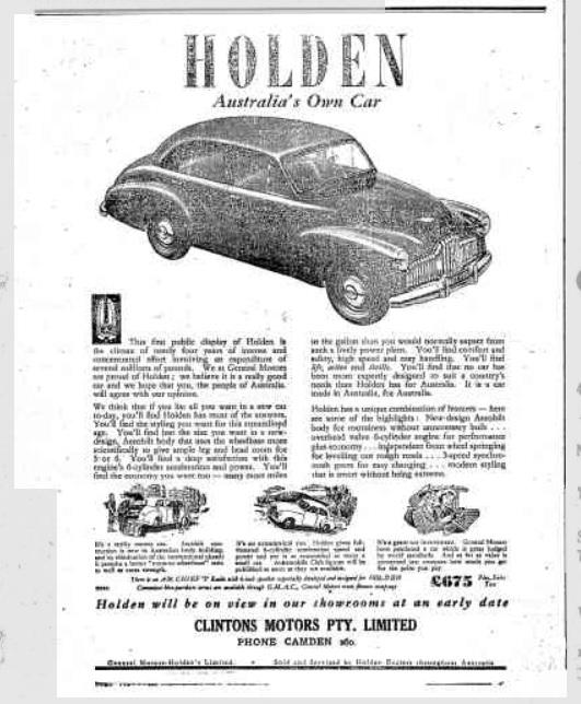 Camden Clinton Motors New Holden CN1948Dec16