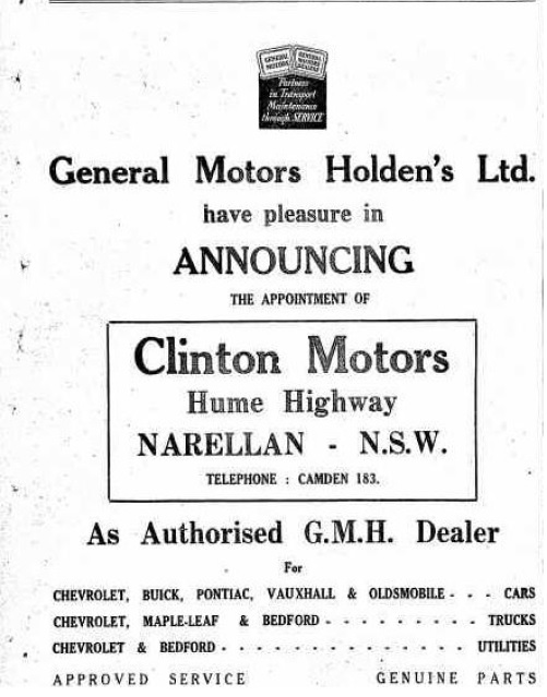 Camden Clintons Motors GMH Dealer CN1945Mar8