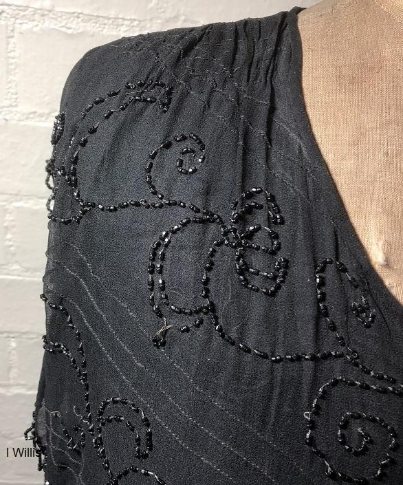 Camden Museum Mrs Wilsons black dress beading on shoulder mid-1920s IW 2019
