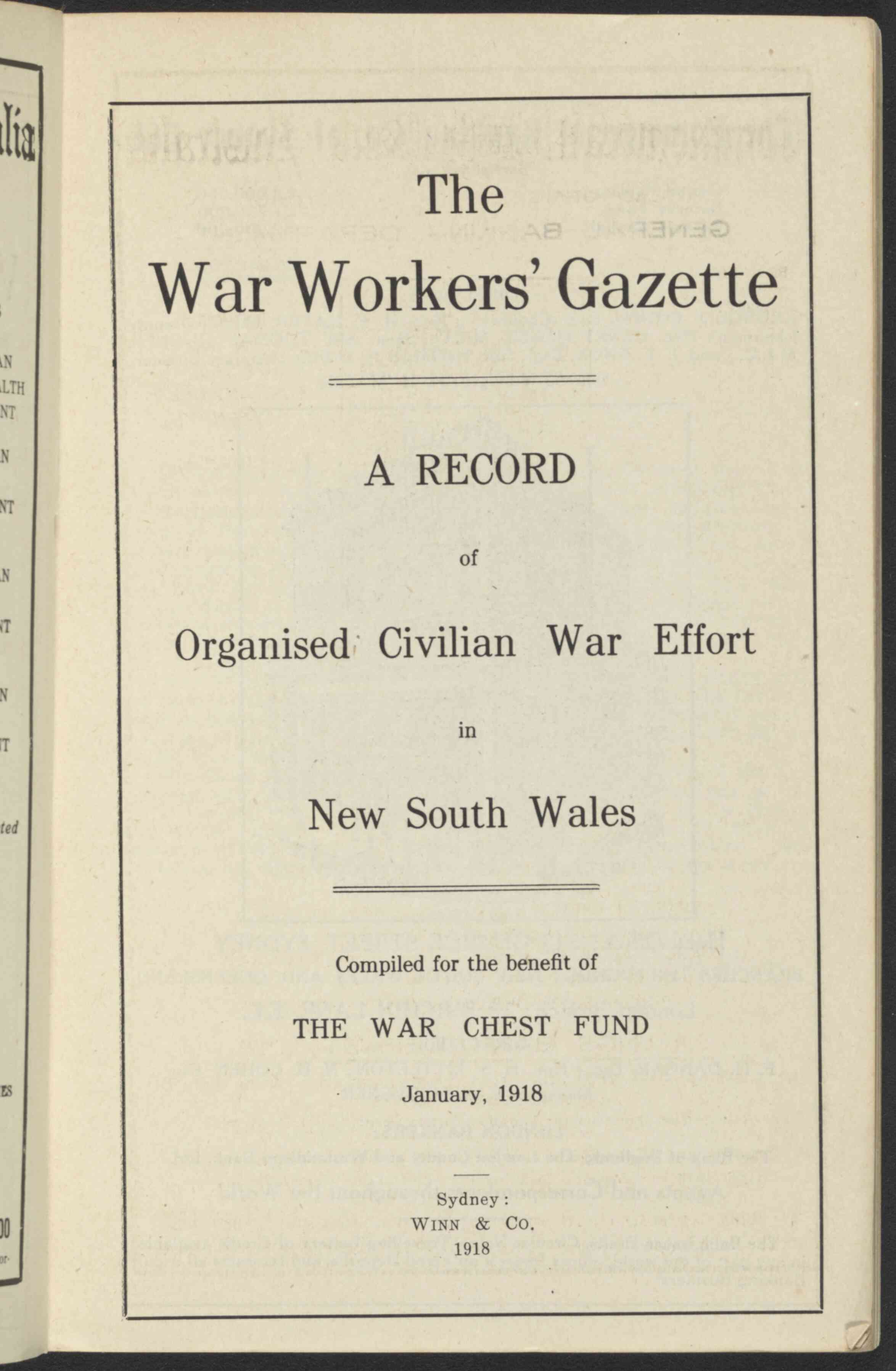 War Workers Gazette Title Page 1918 nla.obj-38842598-5 lowres