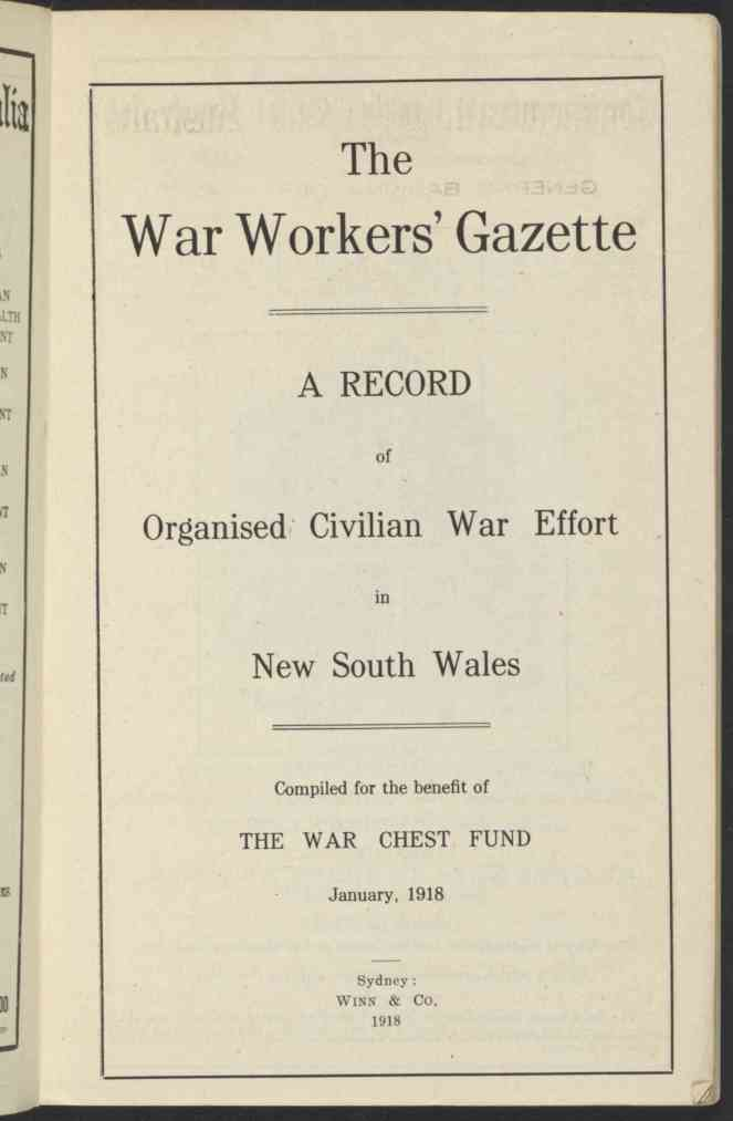 War Workers Gazette Title Page 1918 nla.obj-38842598-5 lowres