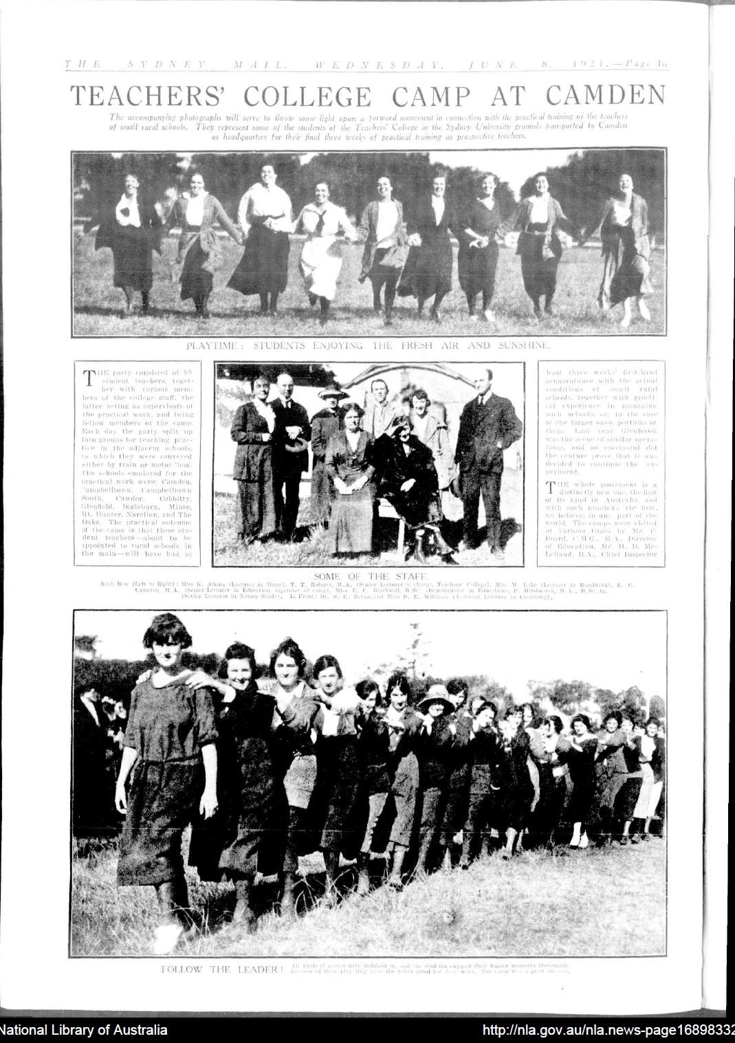 Camden Trainee Teacher camp 1921 SydMail1921Jun8