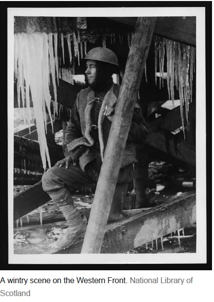 First World War Freezing conditions soldier 1914-1918 NLS