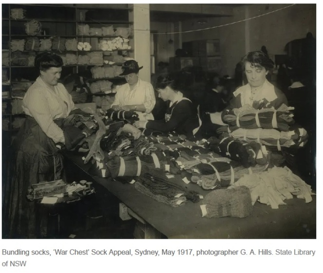 First World War Sock knitting War Chest 1917 SLNSW