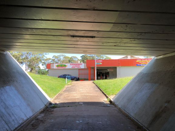 Airds Shopping Centre Frontage from Walkway underpass 2020 IW lowres