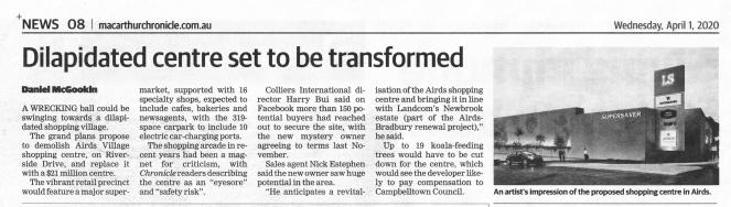 Airds Shopping Centre redevelopment Macarthur Chroncile 2020Apr1