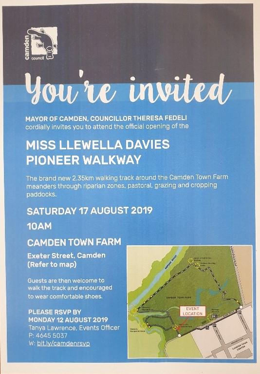 Invite for Miss Llewella Davies Walkway 2019Aug17