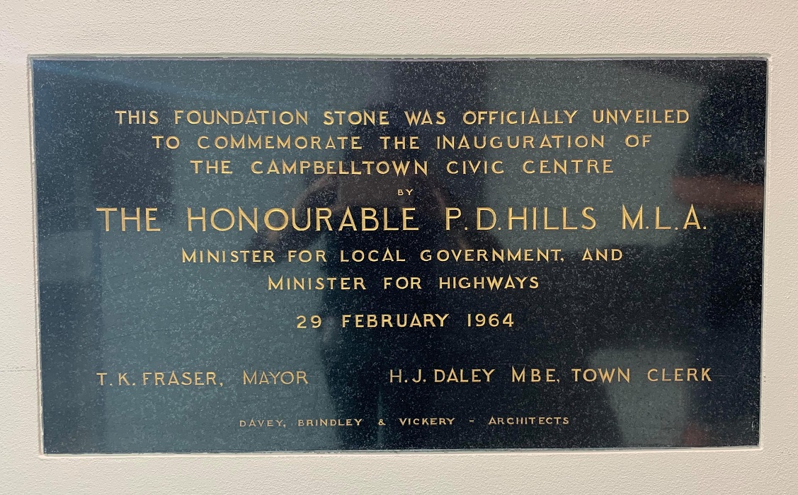 Campbelltown Plaque Commemorating Opening Campbelltown Council Office 1964 H Neville 2020 lowres